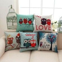 cartoon love owl pillowcase cotton linen font b valentine b font chair seat and back waist