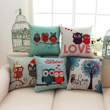 cartoon love owl pillowcase cotton linen valentine chair seat and back waist square cushion cover home