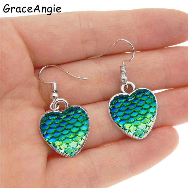 cc9cbe0579 ... GraceAngie Love Heart Earrings Mermaid Fish Colorful Elegant Women  Earrings Jewellery Earrings for women Drop Earrings ...