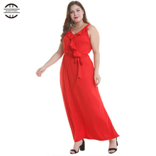 2019 New Summer Plus Size Women Dresses Sexy Deep V Neck Party Dress Elegant Strap Casual Sleeveless 4XL Maxi