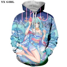 YX Girl Drop Shipping Anime Clothes Men Women 3d Print Vocaloid Hatsune Miku Hoodie Long Sleeve Sweatshirt Hoodies Streetwear