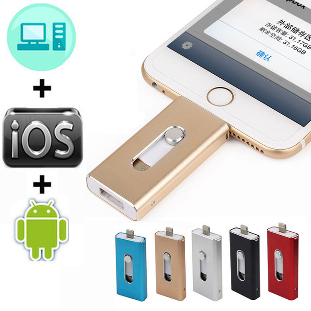 OTG Usb Flash Drive 128GB 16G 32G 64GB Pen drive HD external storage memory stick For iphone 7 7 Plus 6 6s Plus 5S ipad Pendrive(China)