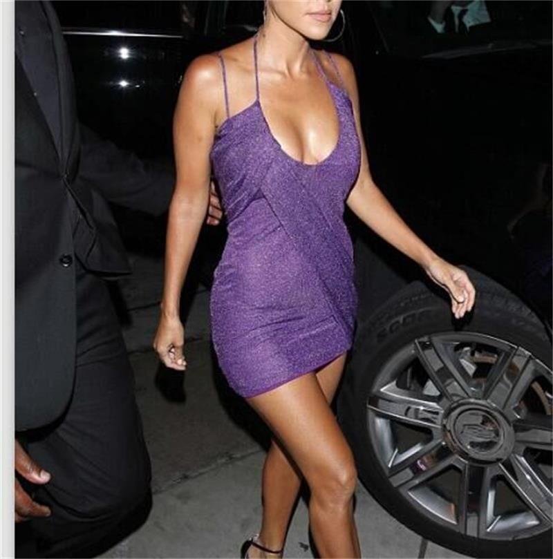 507556df8b72 Kourtney Kardashian Sheath Dress Halter Backless Ladies Mini party Dresses