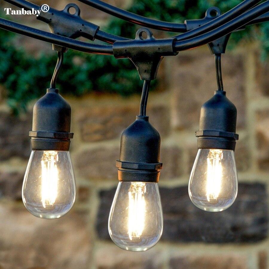 10M 15M 10pcs 2W LED Waterproof E26/E27 String Lights Indoor/Outdoor Street Garden Patio Backyard Holiday String Lights EU/US