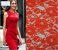 Collection Of High Quality Heavy Red Corded Eyelash Lace Fabric With Multicolor