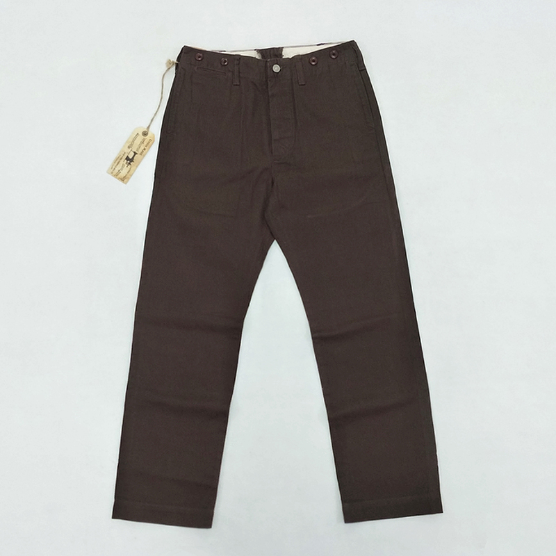 Bob Dong Dark Coffee Men's Casual Trouser Stripes Suit Pants Retro Overalls Plus Size 28-38