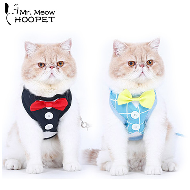 Tuxedo Cat Harnesses Set Cute Bowtie Leash & Collar Polyester