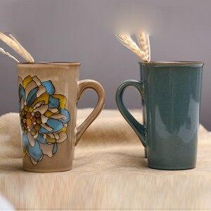 Image 5 - Pintados à mão cerâmica copo grande caneca retro café utensílios de mesa tendo personalidade casal cheio de criatividade
