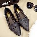 2016 Корейский Новый Острым Носом Квартиры Черный Рабочая Обувь Мода PU Кожа Женщина Обувь Sapatos Feminino Новый Дам Schoenen Серый