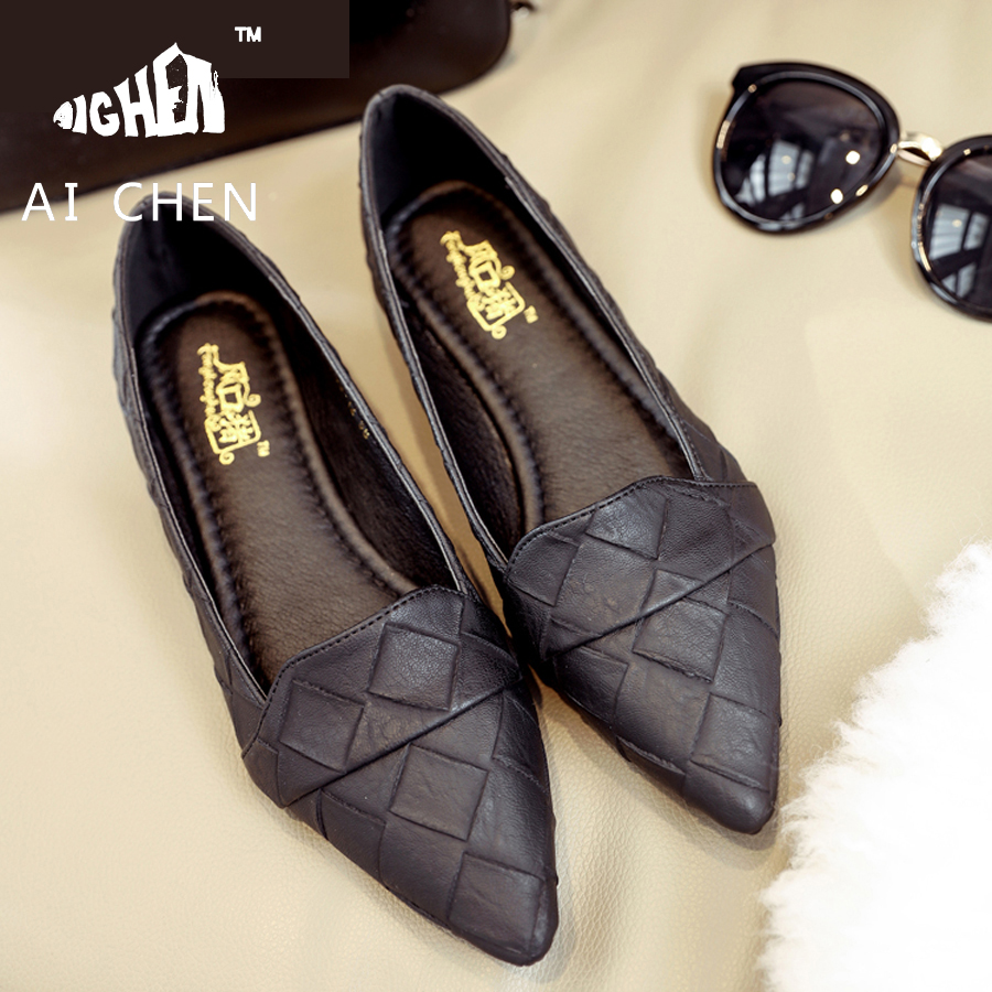 black work sneakers promotion shop for promotional black work 2016 korean new pointed toe flats black work shoes fashion pu leather w shoes sapatos feminino new dames schoenen gray