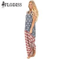 Flodiss 2017独立記念日アメリカフラッグプリントマキシdress用女性ルースカジュアル服プラスサイズs-xxl
