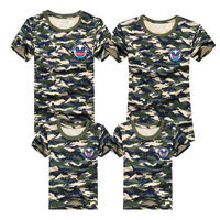 Family T Shirts 2016 Summer Family Matching Clothes Patchwork Army Family Look T Shirt Tees For