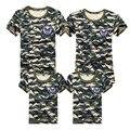 T-shirt Da Família 2016 de Verão Da Família Roupas Combinando Exército 1psc cor Olhar Família T-shirt T-shirt Para O Filho Pai Mãe Filha crianças