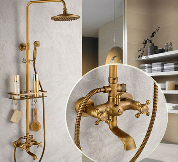 New Arrival Bathroom Retro Shower Set Faucet W Commodity Shelf And Hangers Antique Brass Mixer Tap