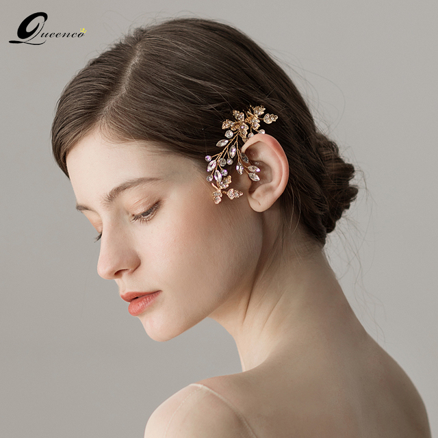 Gold Crystal Wedding Hair Accessories Vintage Comb Jewelry Women Ornaments Alloy Bridal Hairpins Clip