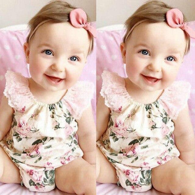 ce972ef0c4b Summer Floral Lace Baby Girls Clothes Newborn Infant Baby Girl Bodysuit  Floral Bodysuits Jumpsuit Outfits Sunsuit 0-24 Months