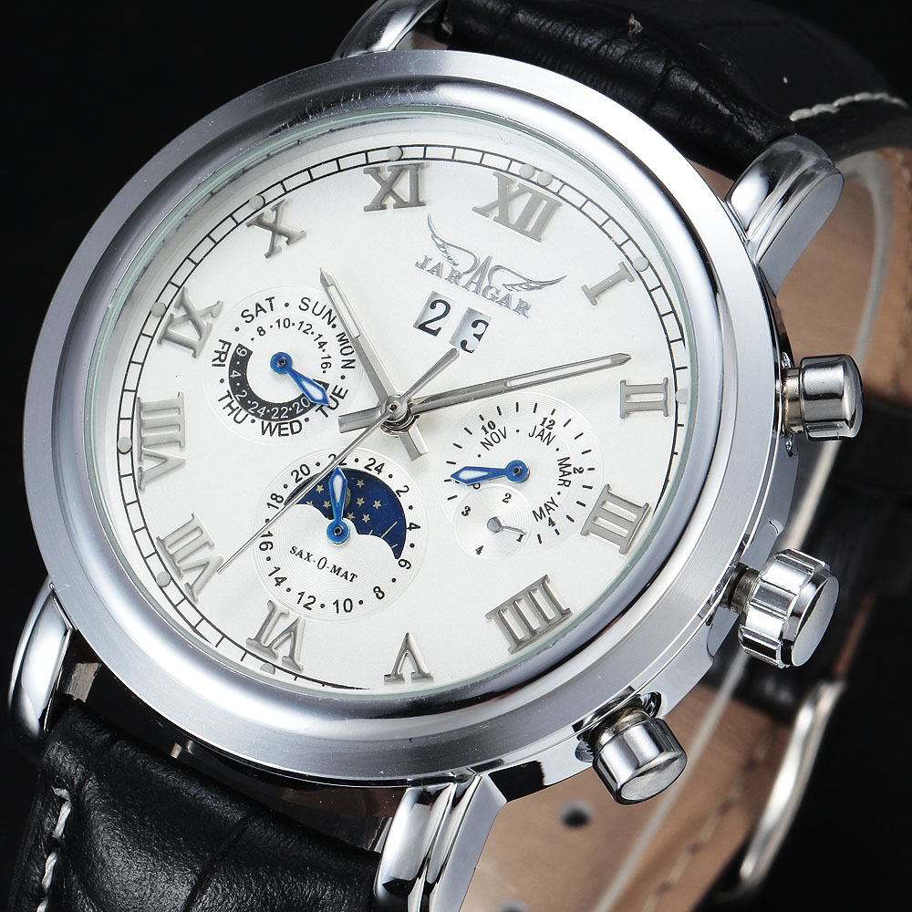 New Fashion Brand JARAGAR Automatic Mechanical Self-Wind Moonphase Auto Date Complete Calendar Dial Leather Strap Men Watches цены