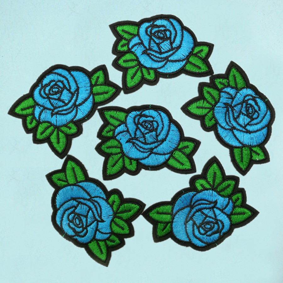 Flower SEW ON Rose Love Embroidered SEW ON Applique Patch Blue Rose