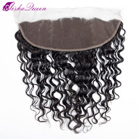 Aisha Queen Pre Plucked Brazilian Deep Wave Frontal Closure Non Remy Human Hair Frontal 13x4 Lace Frontal Closure With Baby Hair