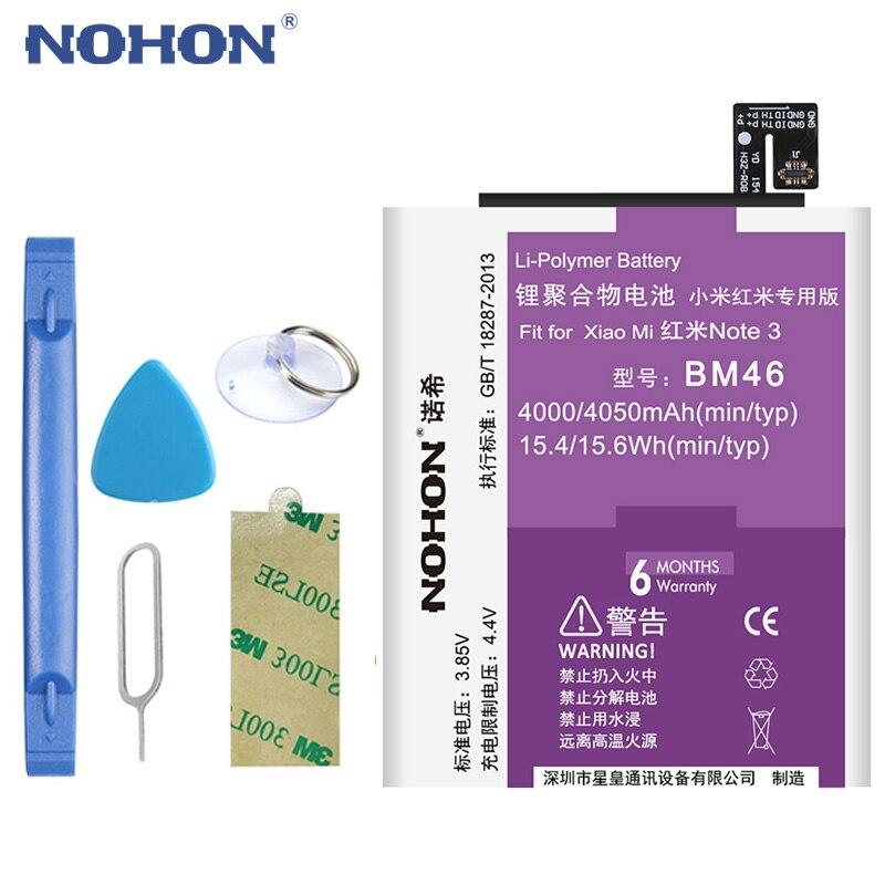 NOHON Bateria Para Xiao mi mi Vermelho Nota 3 BM46 BM46 mi Nota 3 Pro 4000 mAh Substituir Telemóvel baterias Ferramentas Gratuitas Pacote de Varejo