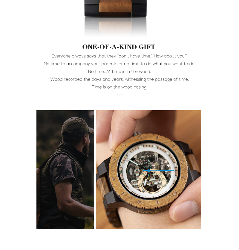 HTB1E20laW67gK0jSZFHq6y9jVXay Relogio Masculino BOBO BIRD Mechanical Watch Men Wood Wristwatch Automatic Customized Gift for Dad