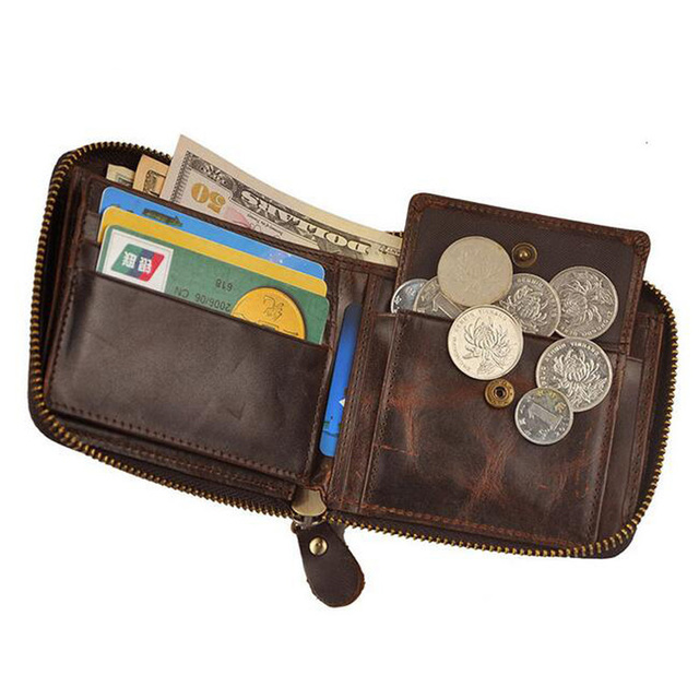 Genuine Leather Men Wallet Single Around Zipper Short Wallet Clutch Small Coin Bag ID Card Holders Purse Vintage Wallet For Men