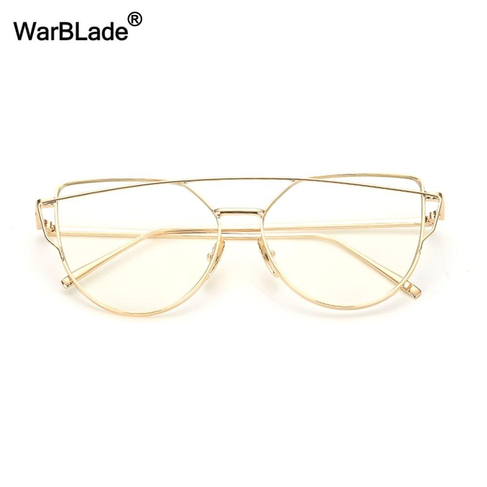 Fashion Clear Lens Cat Eye Glasses Frame Women Gold Eyewear Frame Men Eyeglasses Optical Frame Reading Glasses Female WarBLade