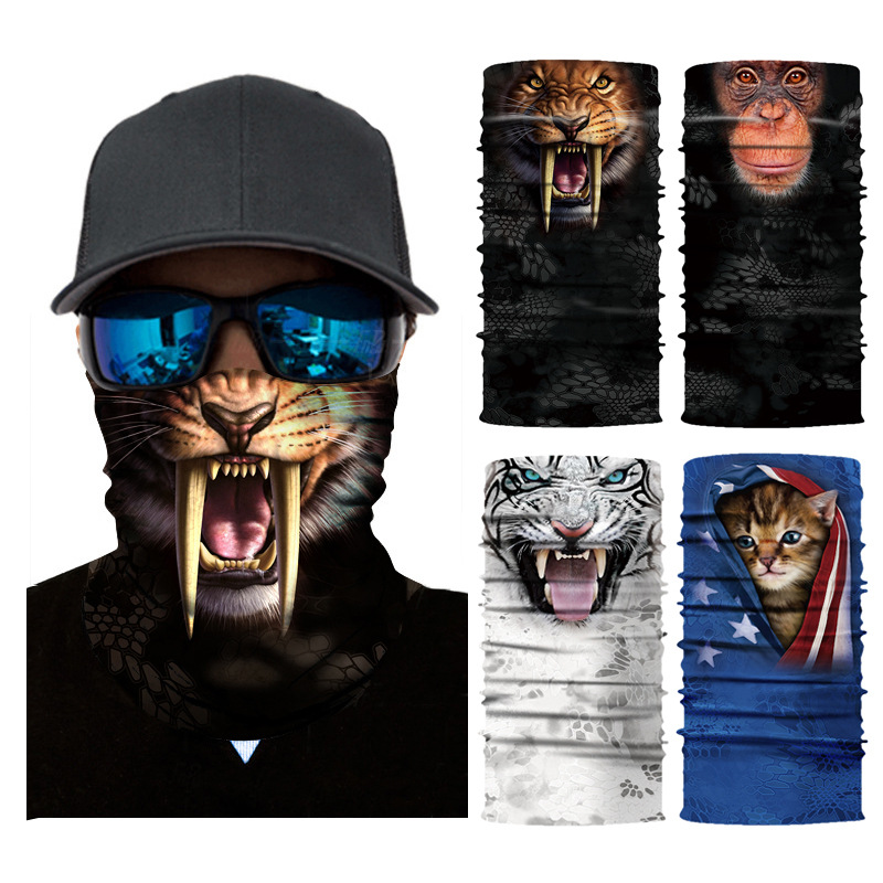 3D Seamless Magic Animal Scarf Neck Warmer Balaclava Face Mask Head Bandana Shield Headband Headwear Bandana For Men Bicycle
