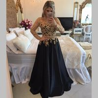 Abendkleider Gold Appliques Beaded A Line Mother of the Bride Dresses Long Sleeve Black Prom Gown Formal Dress robe de soiree