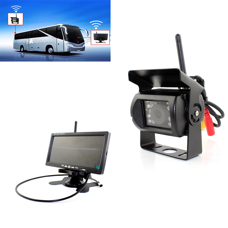 DC 24V Truck Bus reaper 2.4GHz Wireless Rear view rearview backup Camera with 7 Inch Car Monitors TFT LCD Colorful Monitor diysecur 4pin dc12v 24v 7 inch 4 split quad lcd screen display rear view video security monitor for car truck bus cctv camera
