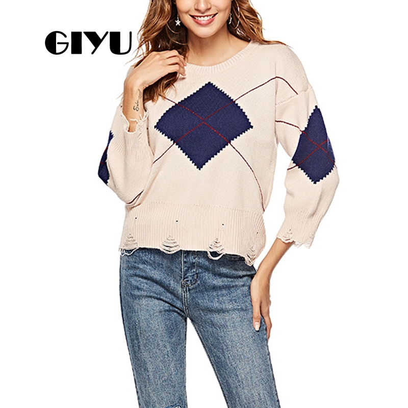 Giyu Drop Shoulder Sweater Hole Long Sleeve Patchwork Casual Loose Sweaters Female Pullover Sueter Mujer Invierno 2019