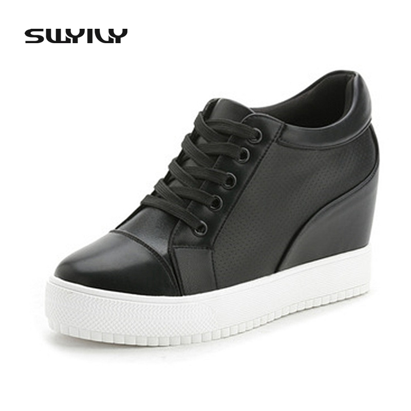 SWYIVY Women Casual Shoe Sneakers 4.5cm Hided Wedge Lace Up Spring Autumn Casual Shoes Woman Sneakers Fashion Solid Color Shoes swyivy women sneakers light weight 2018 41 woman casual shoes slip on lazy shoes comfortable candy color breathable net shoe
