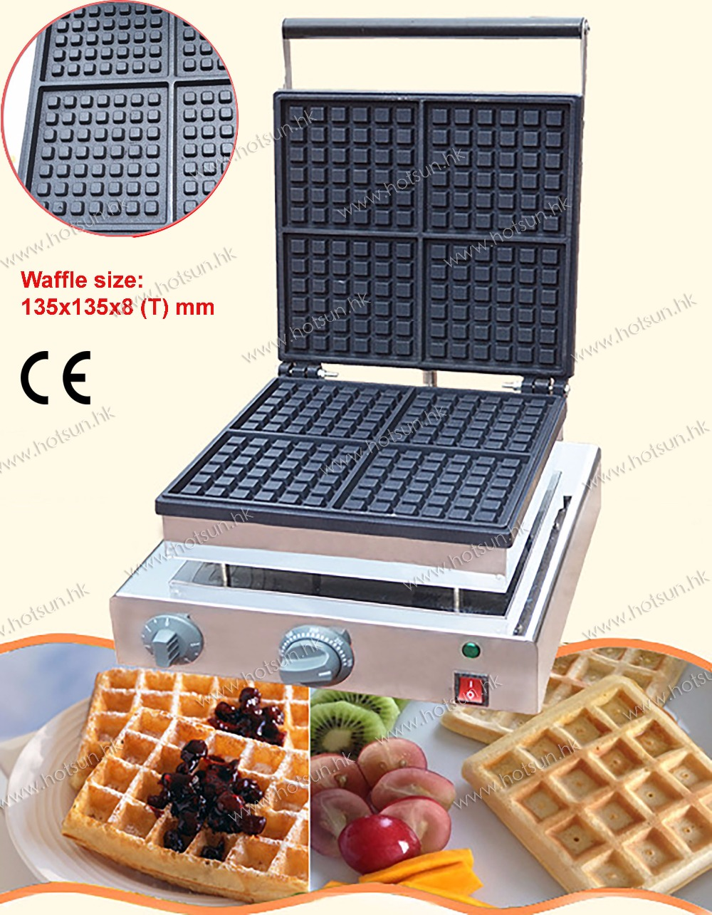 Free Shipping Commercial Use 110v 220v Electric Nonstick Liege Waffle Baker Maker Machine Iron