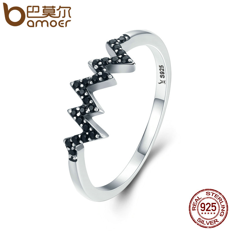 BAMOER Hot Sale 925 Sterling Silver Sparkling CZ Heart Wave Black Finger Ring for Women Anniversary Engagement Jewelry SCR207 цена 2017