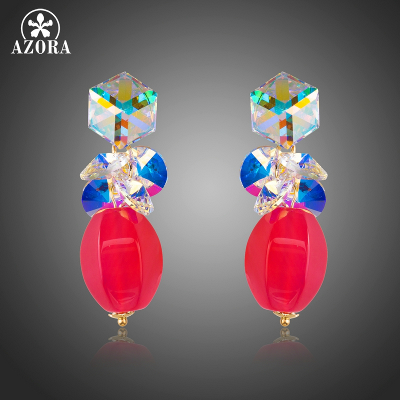 AZORA New Arrival Sparking Colorful Cube and Round Stellux Austrian Crystal Drop Earrings TE0272 azora sparking sea blue top stellux austrian crystal octopus animal pin brooch tp0051