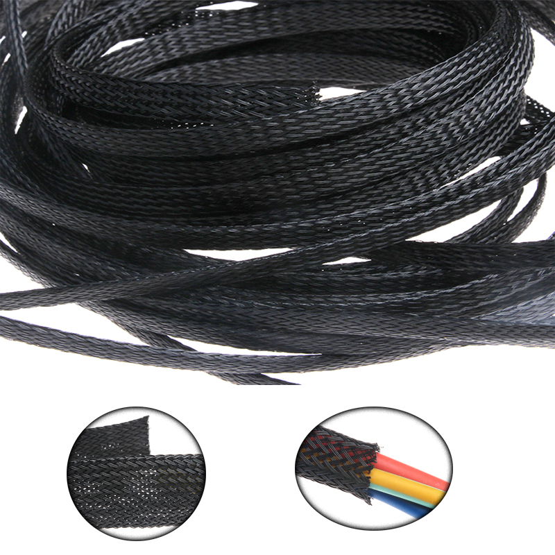 1M Black Braided Expandable Cable Sleeve Tight PET High Density Wire Sleeve Sheathing PC Cable Organizer Wire Cable Protection цены