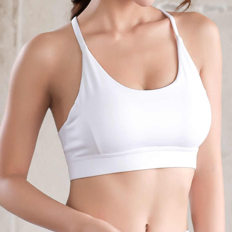 42bdf4986a3 ... New Plus Size Mesh Patchwork Fitness Yoga Bras Top Women Push Up Solid Workout  Athletic Underwear ...