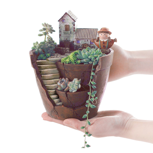 Behokic Mini Fairy Garden Plants Flower Succulent Pot Planter Micro