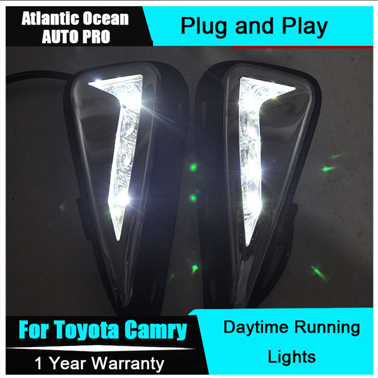 AUTO PRO 2015 For Toyota Camry LED DRL LED fog lights New Camry LED Daytime Running Light Car Styling LED parking lights tcart 2x auto led light daytime running lights turn signals for toyota prius highlander for prado camry corolla t20 wy21w 7440
