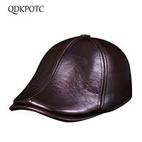 QDKPOTC 2018 High Quality Winter Men's Hat Leather Beret Hat Casquette Cap Hats For Men Visors Sun Cap Gorras Planas Flat Caps