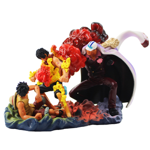 10-14cm One Piece Gear Fourth The Death Of Ace Monkey D Luffy Red Dog Sakas Ki Fighting Scenes PVC Figure Collectible Model Toy(China)