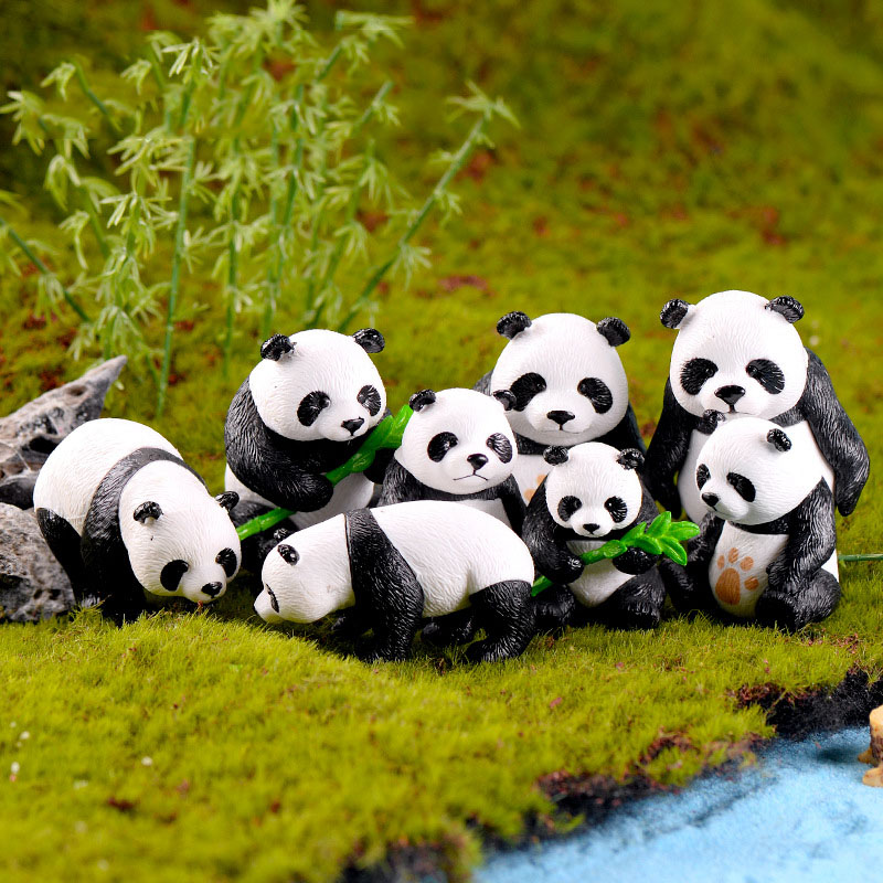 4 Pcs/set Cute Panda Miniature Garden Resin Crafts Ornament Garden Home Decoration Mini Animal Artificial Micro Landscaping