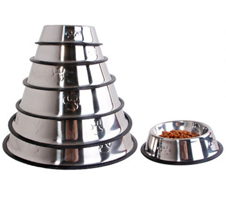 Stainless Steel Dog Feeders Pet Utensils Dog Bowl for Dogs Puppy Food Bowl Durable and Antiskid 6 sizes Pets Products Accessories Wholesale1
