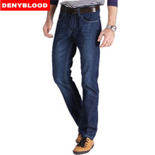 Plus Size 28-40 42 44 46 Darked Wash Jeans Mens Blue Black Stretch Denim Straight Fit Classic Casual Pants Male Trousers 507