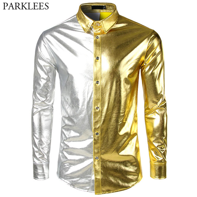 eaa5f0d3 Men's Metallic Shiny Nightclub Slim Dress Shirt 2018 New Fashion Gold  Sliver Patchwork Disco Dance Tops Costume Party Clubwear