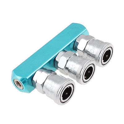 Pneumatic 3 Pass Air Hose Quick Connect Coupling Coupler Tool Silver Tone Blue three way air pass quick coupler connector navy blue