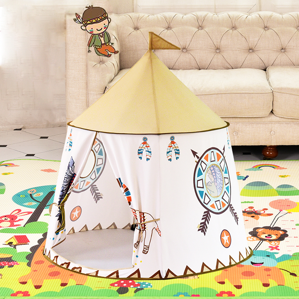 Yard Kids Tents Cartoon Portable Cute Lion Present Hang Flags Baby Children Play Tents Playhouse Large Room 116*123CM Kids Tent