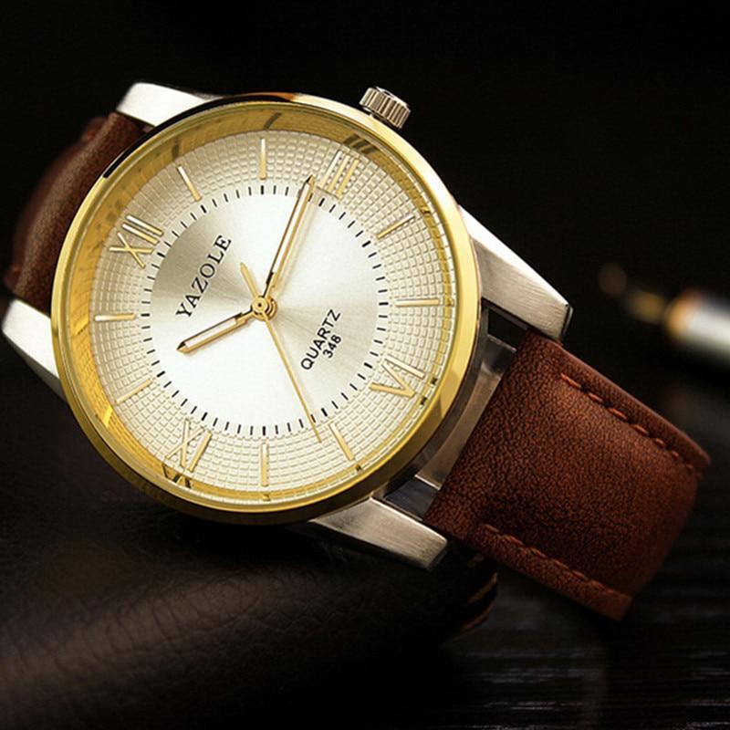 Top Brand YAZOLE Roman Quartz Watch Men Watch Luxury Gold Business Watch Leather Strap Waterproof Watches