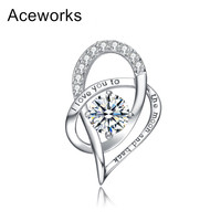Aceworks Real 925 Sterling Silver Pendant Love You With Zircons Women Birthday Gift Mother Day Present