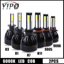 H11 led h7 H1 H3 H11 9005 hb3 9006 hb4 5202 D2 9012 H1R2 lampe led 4 côtés cob h7 phare de voiture 12V 6000k